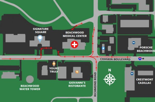 Map Image of Directions to Beachwood Medical Center